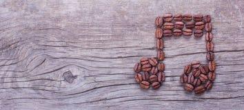 Nota da música de feijões de café Foto de Stock Royalty Free
