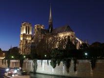 Nota-Dama de Paris em a noite Fotos de Stock Royalty Free