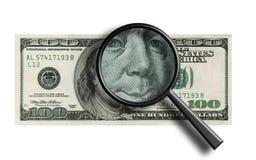 nota de banco $100 engraçada através do magnifier ilustração do vetor