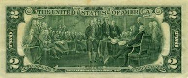 Nota de banco 2 dólares Fotografia de Stock Royalty Free