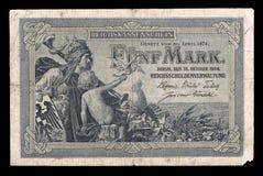 Nota de banco de Keiser Alemanha. 1904. Anverso. Imagem de Stock
