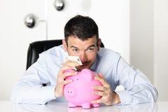 Nota de banco do banco Piggy e do euro cinqüênta Foto de Stock