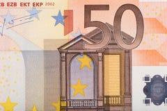 Nota de banco do euro cinqüênta Fotografia de Stock