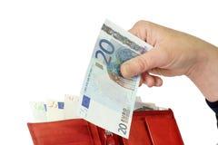 Nota de banco do euro vinte fotografia de stock
