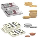 Nota de banco e moedas Fotos de Stock