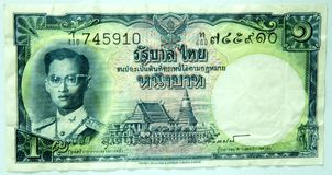 Nota de banco tailandesa mais velha 1 baht Foto de Stock Royalty Free