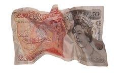 Nota de cincuenta libras aislada Foto de archivo