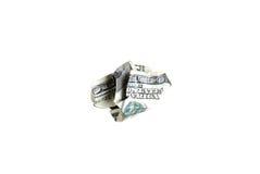 Nota de dólar 100 amarrotada Fotografia de Stock Royalty Free