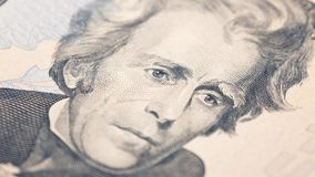 Nota de dólar americana do dinheiro vinte do close up Retrato de Andrew Jackson, E.U. macro do fragmento da cédula de 20 dólares Fotos de Stock