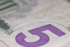 Nota de dólar cinco Imagens de Stock