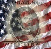 Nota de dólar cinco com bandeira americana Imagens de Stock Royalty Free
