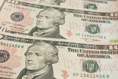 Nota de dólar dez Foto de Stock Royalty Free