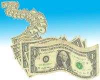 A nota de dólar dos E.U. é a mais baixa nota da denominação do dólar americano Tem o retrato do primeiro presidente, George Washi Foto de Stock