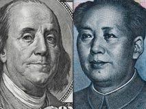 Nota de dólar dos E.U. e de yuan de China macro da cédula, chinês e ec dos EUA Imagem de Stock