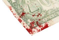 Nota de dólar dos E.U. um, fim acima, sangue Fotografia de Stock Royalty Free