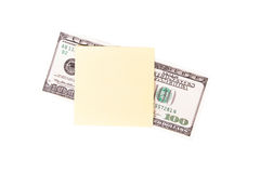Nota de dólar e cargo pegajoso Imagem de Stock
