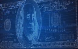 Nota de dólar 100 em uma carta do mercado de valores de ação Ilustração Royalty Free