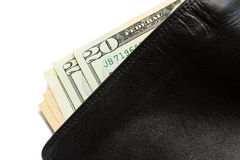 Nota de dólar na carteira de couro preta velha Fotografia de Stock