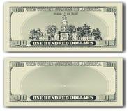 nota de dólar 100 o outro lado Fotos de Stock Royalty Free