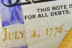 Nota de dólar próxima acima com data o 4 de julho de 1776 Foto de Stock Royalty Free
