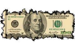 Nota de dólar 100 queimada imagens de stock