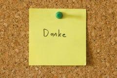 Nota de Danke Foto de Stock