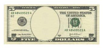 Nota de dólar da placa 5 Fotografia de Stock Royalty Free