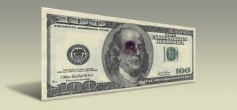 Nota de dólar dos E.U. cem com Franklin batido Imagem de Stock Royalty Free