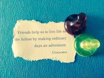 Nota de la amistad Imágenes de archivo libres de regalías