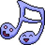 Nota de la canción del arte del pixel del vector libre illustration