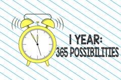 Nota de la escritura que muestra a 1 año 365 posibilidades Principio de exhibición de la foto del negocio porciones de las nuevas stock de ilustración