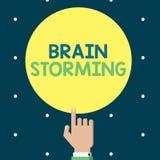 Nota de la escritura que muestra a Brain Storming Discusión estimulante de exhibición de las ideas del pensamiento creativo de la Ilustración del Vector