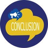 Nota de la escritura que muestra la conclusión Final de exhibición de la decisión final del análisis de los resultados de la foto imagenes de archivo