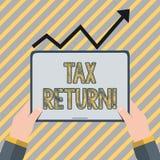Nota de la escritura que muestra la declaraci?n de impuestos Forma de exhibición de la foto del negocio en la cual el contribuyen ilustración del vector