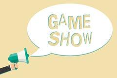 Nota de la escritura que muestra la demostración de juego El programa de exhibición de la foto del negocio en la televisión o la  stock de ilustración