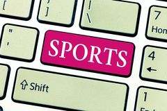 Nota de la escritura que muestra deportes El esfuerzo físico y la habilidad individuales o el equipo de exhibición de la activida fotos de archivo