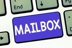 Nota de la escritura que muestra el buzón La caja de exhibición de la foto del negocio montó en los posts para donde está fichero imagenes de archivo