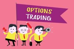Nota de la escritura que muestra el comercio de opciones Foto del negocio que muestra diversas opciones para hacer sprea de las m stock de ilustración