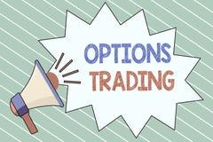 Nota de la escritura que muestra el comercio de opciones La foto del negocio que mostraba diversas opciones para hacer mercancías stock de ilustración