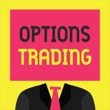 Nota de la escritura que muestra el comercio de opciones La foto del negocio que mostraba diversas opciones para hacer mercancías ilustración del vector