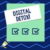 Nota de la escritura que muestra el Detox de Digitaces Periodo de tiempo de exhibici?n de la foto del negocio durante paradas de  libre illustration