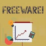 Nota de la escritura que muestra el Freeware Aplicación de software de exhibición de la foto del negocio que está disponible para ilustración del vector