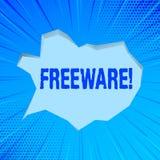 Nota de la escritura que muestra el Freeware Aplicación de software de exhibición de la foto del negocio que está disponible para stock de ilustración