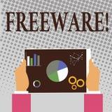Nota de la escritura que muestra el Freeware Aplicación de software de exhibición de la foto del negocio que está disponible para libre illustration