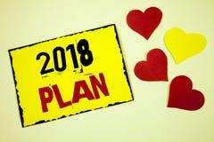 Nota de la escritura que muestra el plan 2018 Metas desafiadoras de exhibición de las ideas de la foto del negocio para que motiv Fotos de archivo libres de regalías