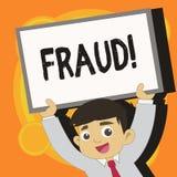 Nota de la escritura que muestra fraude Foto del negocio que muestra el engaño criminal para conseguir joven financiero o demonst ilustración del vector