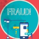 Nota de la escritura que muestra fraude Foto del negocio que muestra el engaño criminal para conseguir personal financiero o demo stock de ilustración