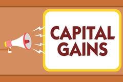 Nota de la escritura que muestra ganancias sobre el capital La acción de exhibición de las partes de los enlaces de la foto del n libre illustration