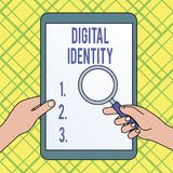 Nota de la escritura que muestra la identidad de Digitaces Informaci?n de exhibici?n de la foto del negocio sobre la entidad usad stock de ilustración