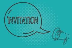 Nota de la escritura que muestra la invitación La foto del negocio que muestra la petición escrita o verbal alguien de ir en algu ilustración del vector